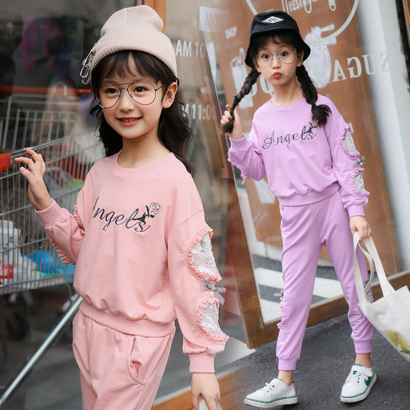 Autumn New Product Girl Child Pure Cotton Printing Lace Motion Suit Two Pieces Kids Clothing Sets summer child suit new pattern girl korean salopettes twinset child fashion suit 2 pieces kids clothing sets suits