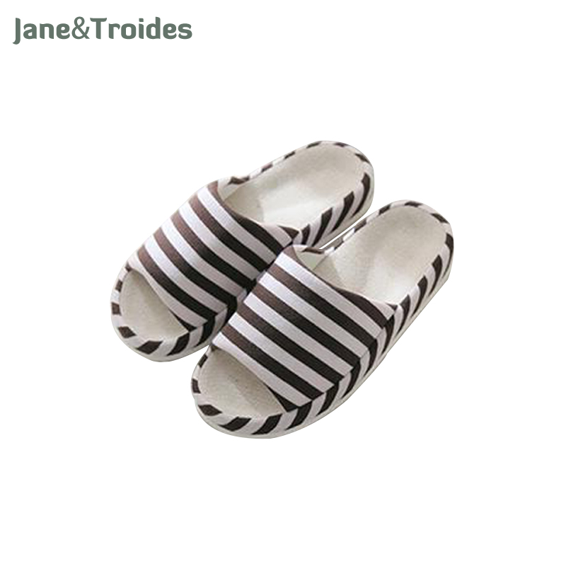 2016 sweet stripe bow fish head slippers cotton soft and comfortable open toed slippers indoor skid women slippers Spring Home Casual Men Flax Slippers Stripe Indoor Bedroom Flip Flops Comfortable Open Toe Sandals Fashion Man Shoes