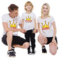 1 Piece Family Look 2017 Fashion Mother kidsT-shirt Boys Girls Crown 14 Color T Shirt Plus Size Matching Mother Daughter Clothes