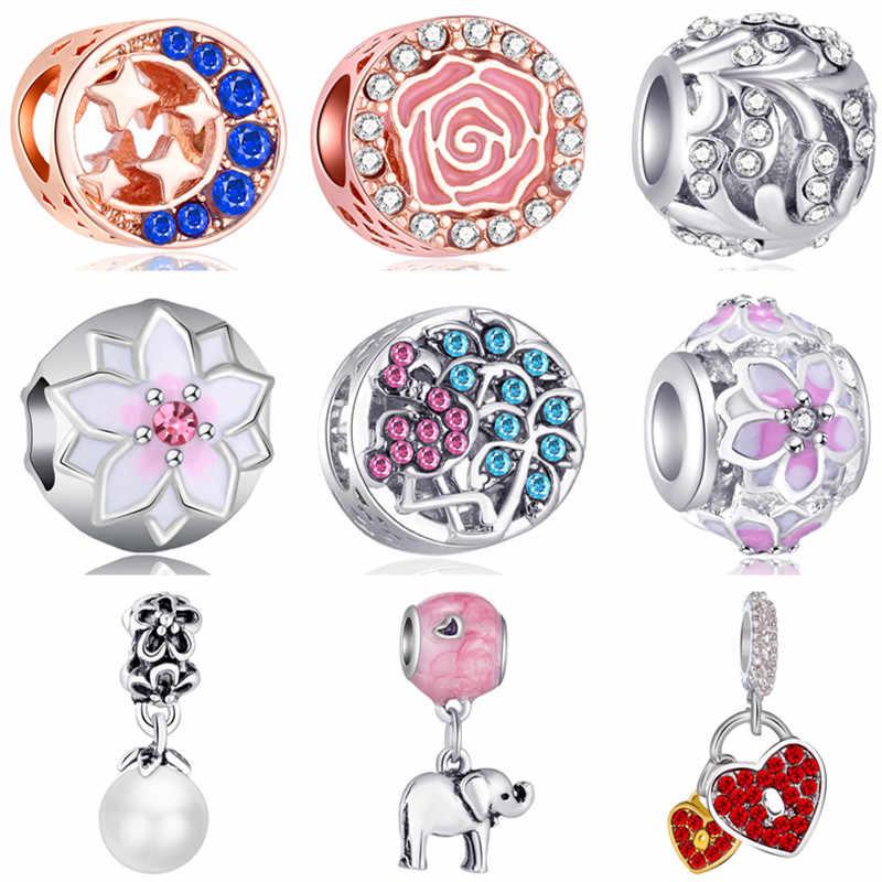 สีสันสดใสคริสตัล Evil Eye Moon Cross Key ดอกไม้ลูกปัด Charms Fit สร้อยข้อมือ Pandora สำหรับผู้หญิงเครื่องประดับ DIY Trinket
