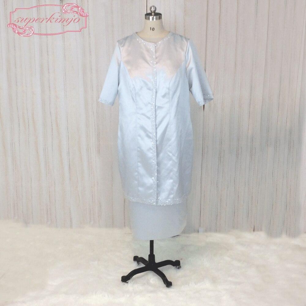 SuperKimJo Modest Blue Evening Dresses Short Mother of the Bride Dresses Tea Length Satin Lace Applique Evening Gown 2018