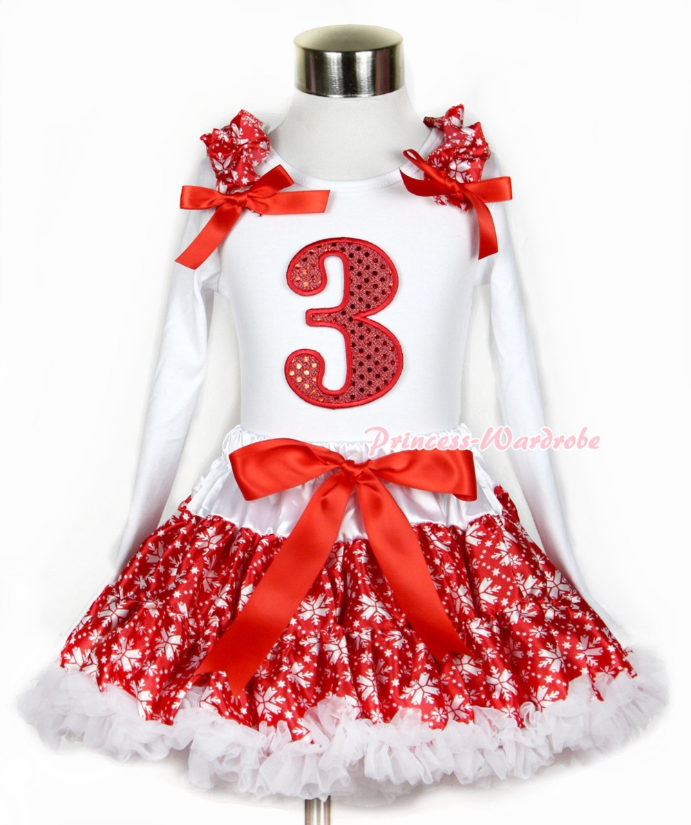Xmas Red Snowflakes Pettiskirt 3rd Sparkle Red Birthday Print White Long Sleeve Top Red Snowflakes Ruffles and Red Bow MAMW266 xmas white tank top 2nd sparkle red birthday number with red snowflakes ruffles
