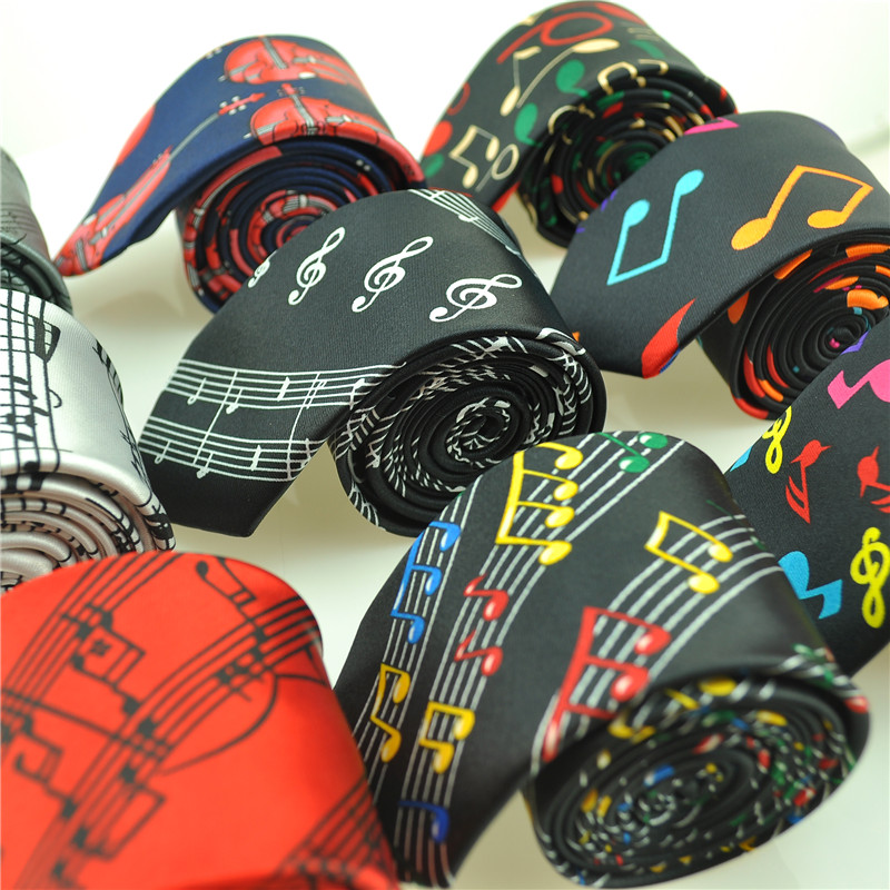 2018 New Arrival Fashion 29 Designs 5cm Music Note Slipsar Musical Tie musik noter musik poäng ljudspektrum slips-GRATIS SHIPPING