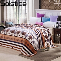 Solstlce Beddings Fashion Brand Brown Leaves Adult Flannel Blanket Super Soft High Quality Double Sides Home Cotton Blanket