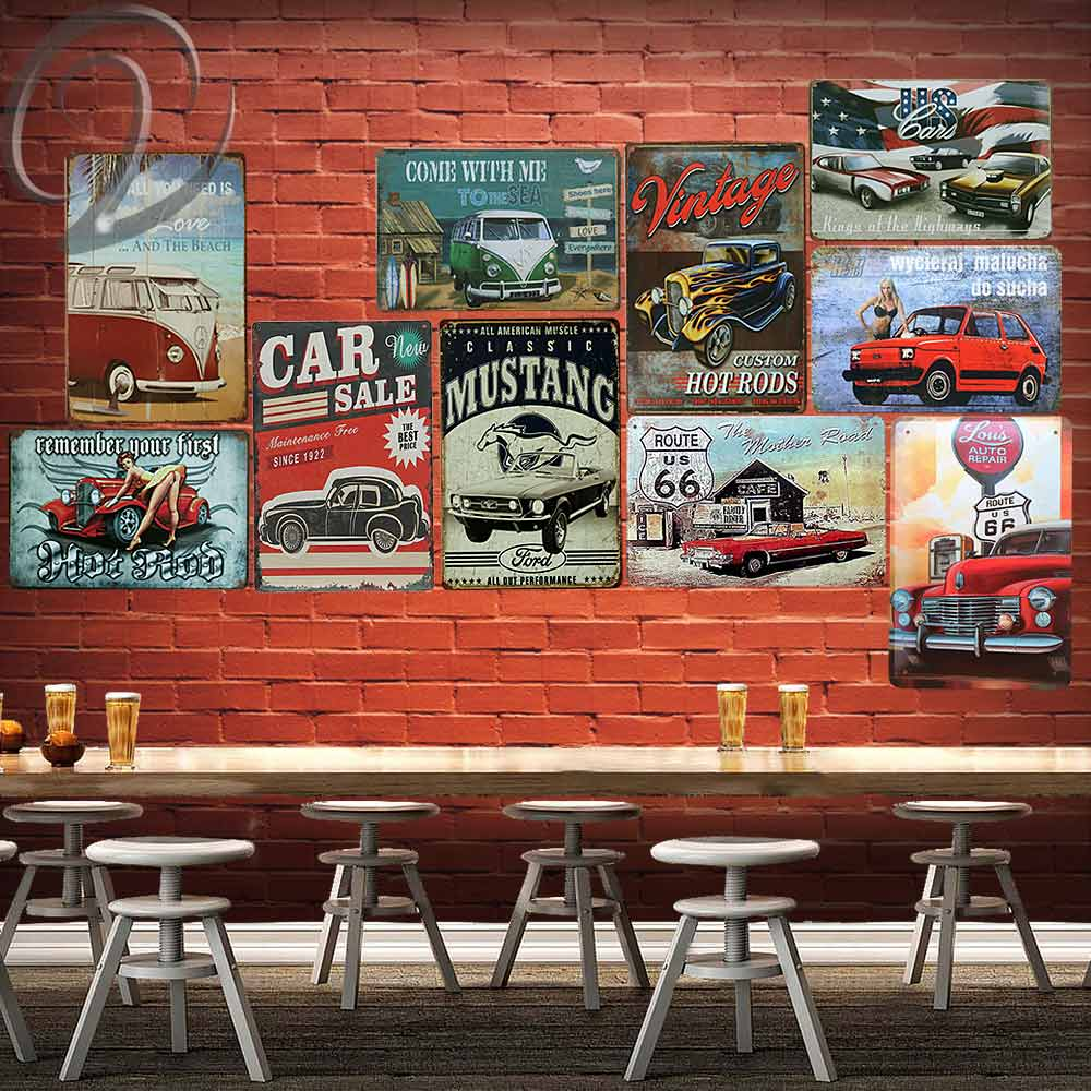 Vintage Car Sale Metal Painting Garage Wall Decor Sign