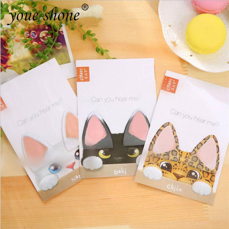 1PCS  Stationary Cat Ear Memo Pads Sticky Notes Tickers Scrapbooking Convenient N Time Stickers Office Supplies