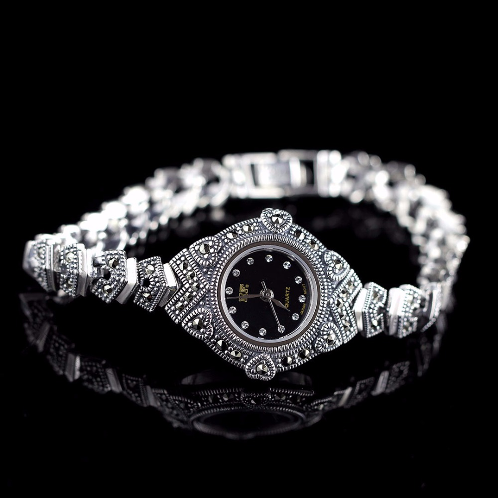 New Limited Edition Classic S925 Silver Pure Thai Silver Heart Bracelet Watches Thailand Process Rhinestone Bangle Dresswatch new mf8 eitan s star icosaix radiolarian puzzle magic cube black and primary limited edition very challenging welcome to buy