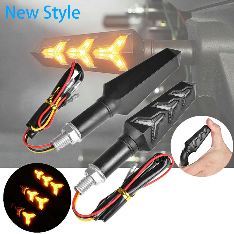 2pcs/4pcs Motorcycle Turn Signals Light LED Flowing Water Blinker Flashing Indicator Flicker Flexible Bendable Lamp Turn Signal