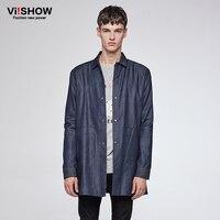VIISHOW גברים חולצה מותג חולצת ג 'ינס כותנה בסגנון בריטי בגדי גברים מזדמנים מעצב שרוול ארוך חולצת ג' ינס זכר CCZ6060