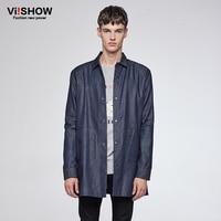 VIISHOW Britse Stijl Katoen Denim Shirt Merk Mannen Blouse Casual Herenkleding Lange Mouwen Designer Jeans Shirt Mannelijke CCZ6060