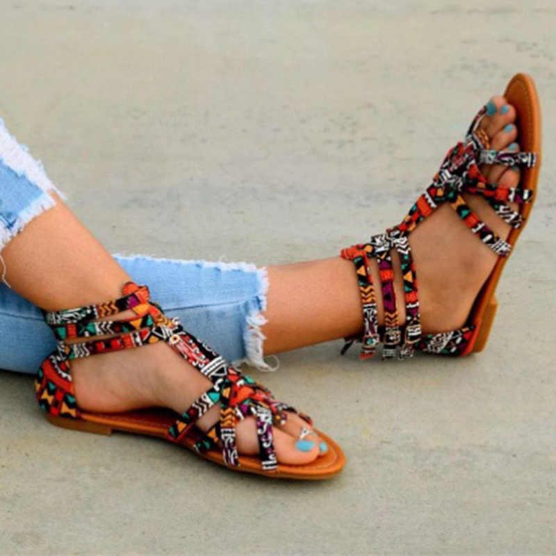 9c0252a8d10746 ... Bohemian Women Flat Shoes Summer Gladiator Roman Sandal Colorful Boho  Sandalias Mujer Colorful Female Beach Flat ...