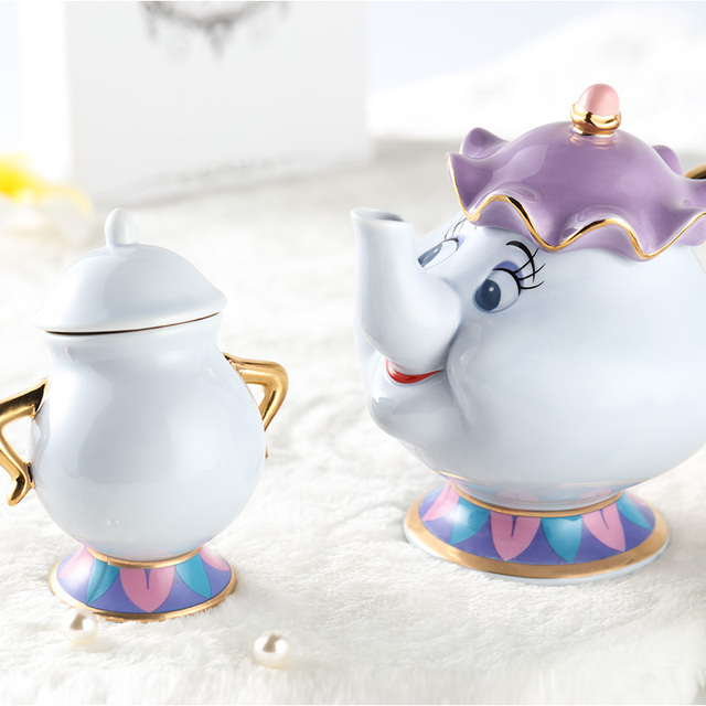 Hot Sale Cartoon Beauty And The Beast Teapot Mug Mrs Potts Chip Tea set Cup 2PCS One Set Lovely Gift 100% Official Drop Shipping
