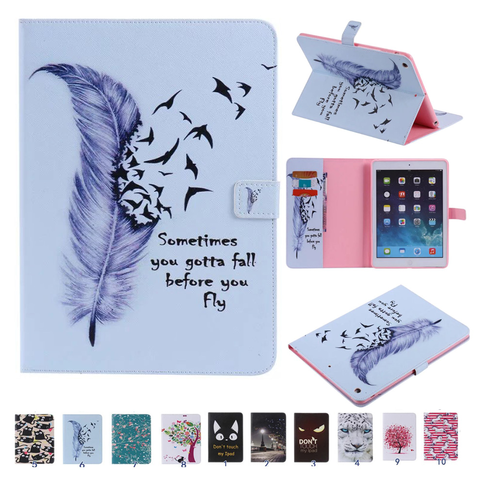 For Coque iPad Air iPad 5 Cover Case Sleep Wake Up Function Colorful Painting Folio PU Leather Stand Wallet Cases for iPad Air 1 ctrinews flip case for ipad air 2 smart stand pu leather case for ipad air 2 tablet protective case wake up sleep cover coque