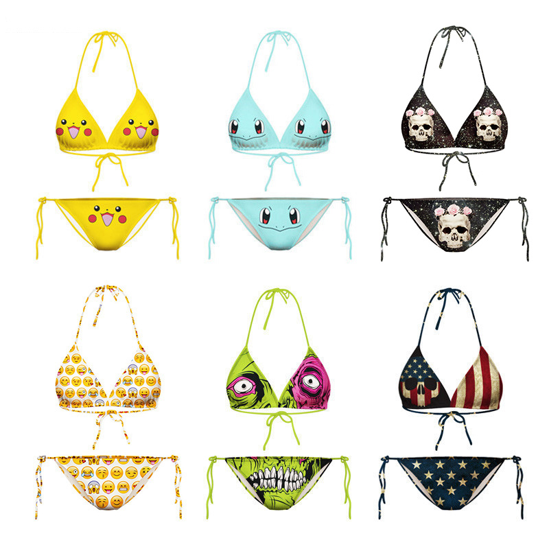 For Summer Women 3D Print Pokemon Emoji Swimsuit US National Flag Sexy Lingerie Bandage Bikini Swimwear Underpants