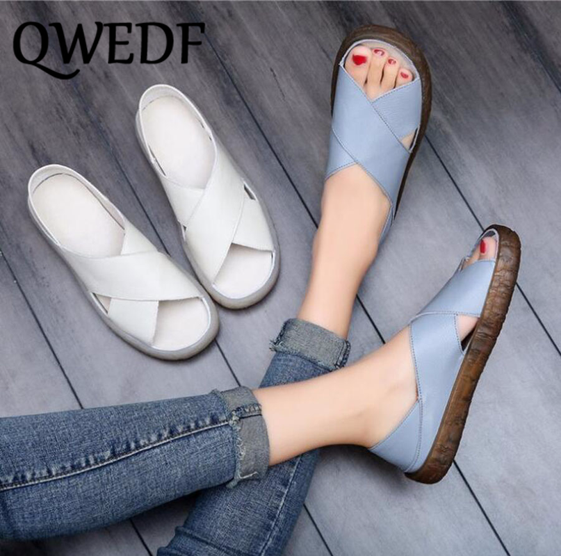 QWEDF  Summer Hot Style Women's Shoes Anti-skid & Hard-Wearing Soft Bottom Sandals Two Ways of Wearing Handmade Shoes SC-07