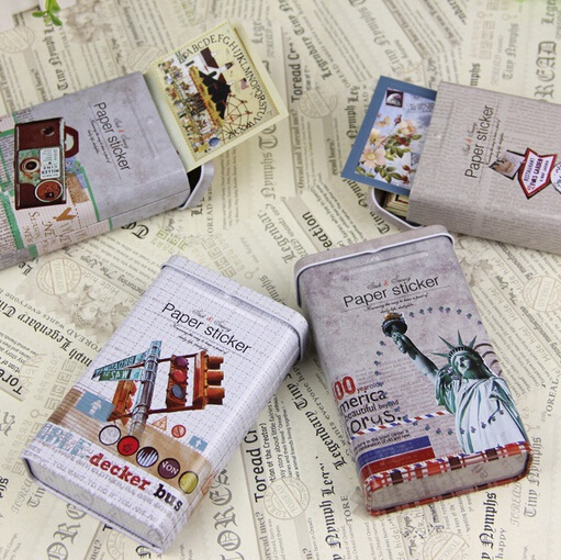 wholesale 100pcs/retro Old Life series diy fun label paper sticker set.Iron box.retro Decoration label.casual style cute promoti