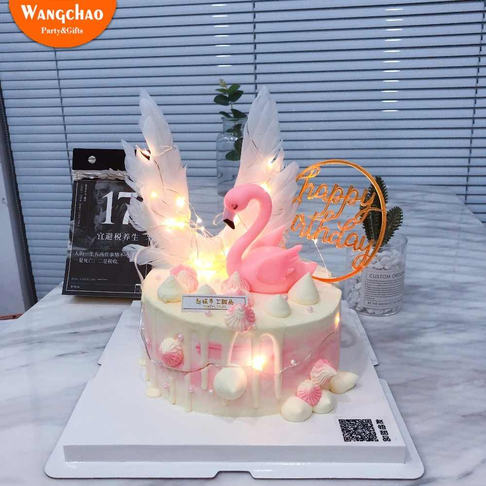 Little Star Sweet Angel Wings Cake Topper Set Happy Birthday Cake Decoration Flamingo Party Cake Topper Decorating Baby Shower