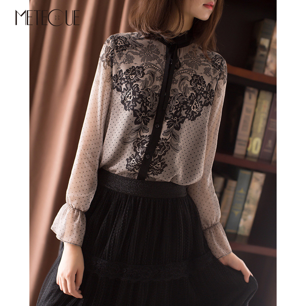 Retro Bow Floral Print Sexy Tops Chiffon Silk Blouse Women Long Butterfly Sleeve Stand Collar Lace Blouses Shirts Spring 2018
