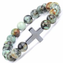 Religious Christian Bracelets & Bangles For Women Natural Stone Africa Turquoises Beads Bracelet Cross Charm Bangle Men Jewelry(China)