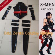 Free Shipping DHL Real Sexy X- Men Psylocke Elizabeth Betsy Braddock Costume Black Shiny Metallic Halloween Cosplay Costume
