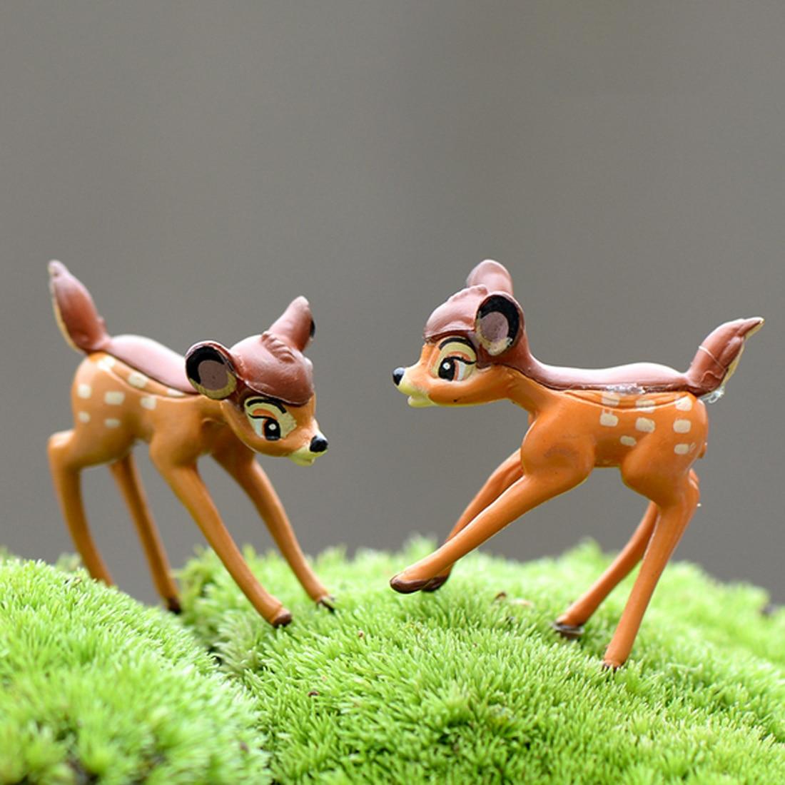 Cute 2pcs/lot Artificial Mini Sika Deer Fairy Garden Miniatures Gnomes Moss Terrariums Crafts Figurines Home Decoration