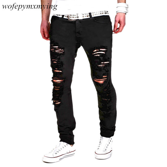 57b6a71dd8c Street Side Fashion Damaged Denim Distressed Jeans Slim Fit Ripped Skinny  Jeans for Men High Quality Biker Cargo Black Jeans