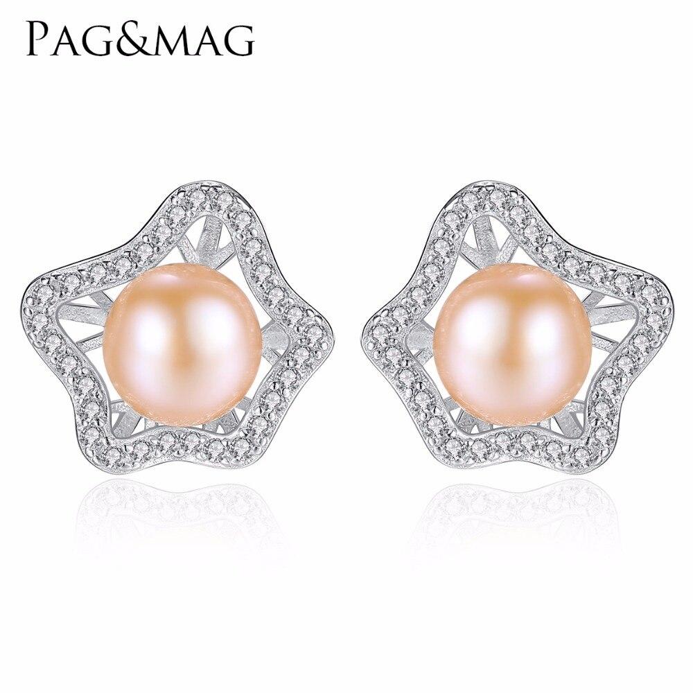 """""""PAG & MAG"""" prekės ženklo romantiškos gėlių formos 925-sidabro natūralūs gėlo vandens perlų auskarai, dailūs papuošalai moterims, dovanos"""