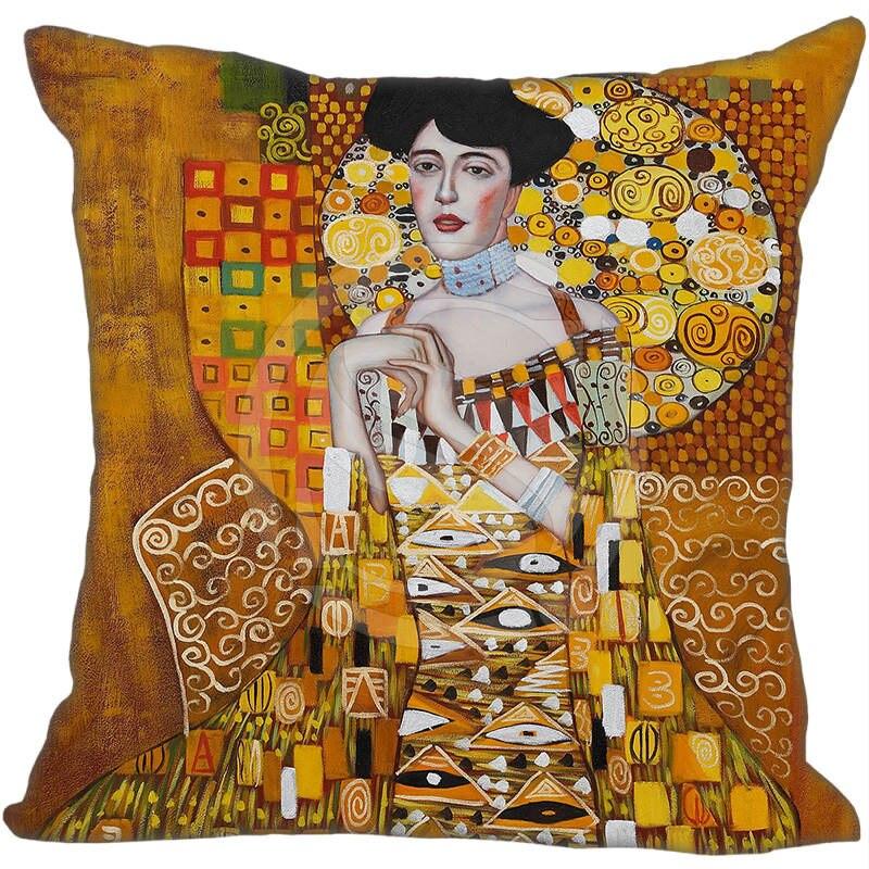 Hot Sale Gustav Klimt The Kiss Square Pillowcase Custom Zippered Cushion Pillow Cover Ca ...