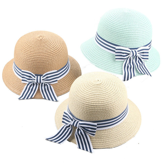 35abcb95158dc Baby hats Summer straw hat child shade sun hat striped bow vocation holiday straw  hat girls