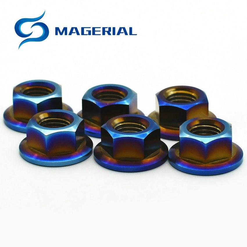 4 pcs Ti Screw Nut M6 M8 M10 M12 M14 M16 M18 Titanium Flange Nut Burned Blue Color Hexagon titanium screw Nuts Ti fastener 2 pcs ti screw nut m10 m12 m14titanium flange nut gold multiple and ti color hexagon titanium screw nuts ti fastener