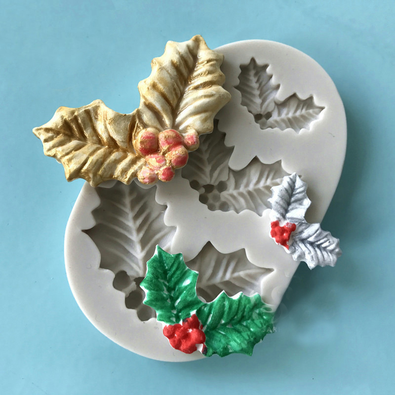 Diy Silicone Tree Leaves Molds For Christmas Cake Dacoration 3d