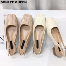 DONLEE QUEEN Women Summer Beach Sandals Back Strap Slip On Mules Low Heel Shallow Shoes Cane Weave Casual Shoes sandalias mujer convertible strap low heeled mules