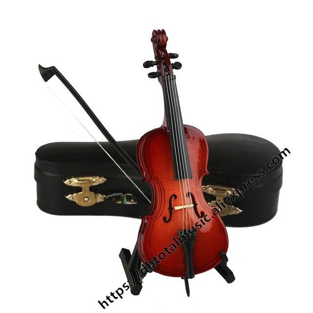 Mini Modelo com Suporte e Caixa de Violoncelo Violoncelo Miniatura Instrumento Musical Replica Ornamentos Presente de Natal Presente de Decoração Para Casa