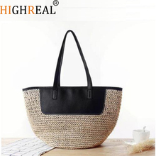 Summer New Striped Crochet Shoulder Bag Fashion Simple Straw Beach Bags Famous Brand Straw Bag Lady's Shooping Bag J152