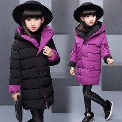 Зимняя Детская куртка для девочек 3-12 лет, двусторонняя Повседневная куртка для девочек, модная теплая верхняя одежда, пальто для девочек, де...