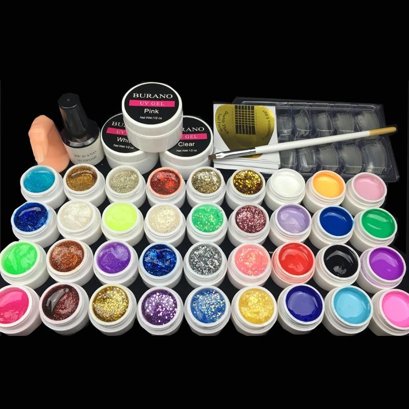 Hot 36colors uv gel nail polish kit manicure set nail art tools topcoat building gel set 010 0.8kg