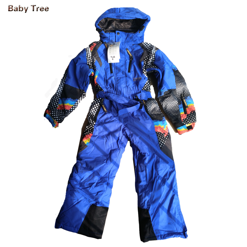 3 16Y High Quality Kids Ski Suit Fleece Lining Brand Winter Rompers Baby Boy Girl Waterproof