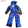 3-16y niños de alta calidad traje de esquí fleece lining marca mamelucos del invierno del bebé niño niña impermeable con gusto mono niños trajes para la nieve