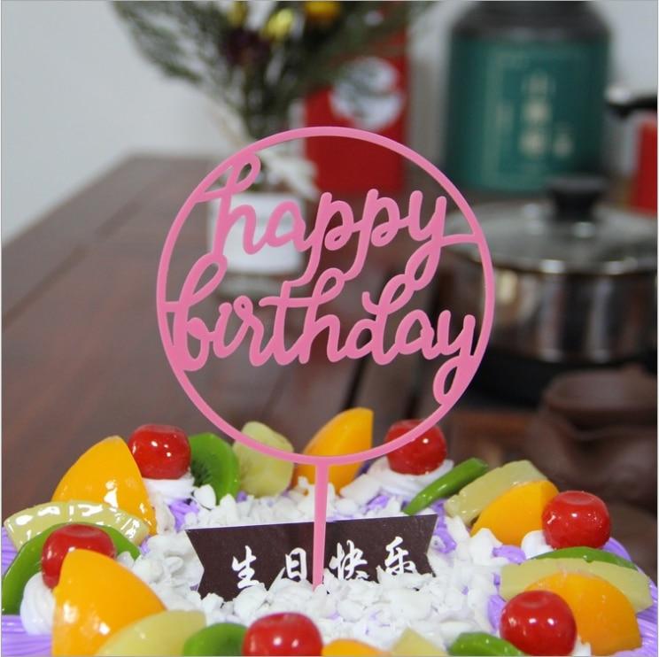 Glitter Happy Birthday Cake Topper Acrílico Carta Ouro Prata Bolo Top Bandeira Fontes Do Casamento de Decoração para Festa de Aniversário Do Menino