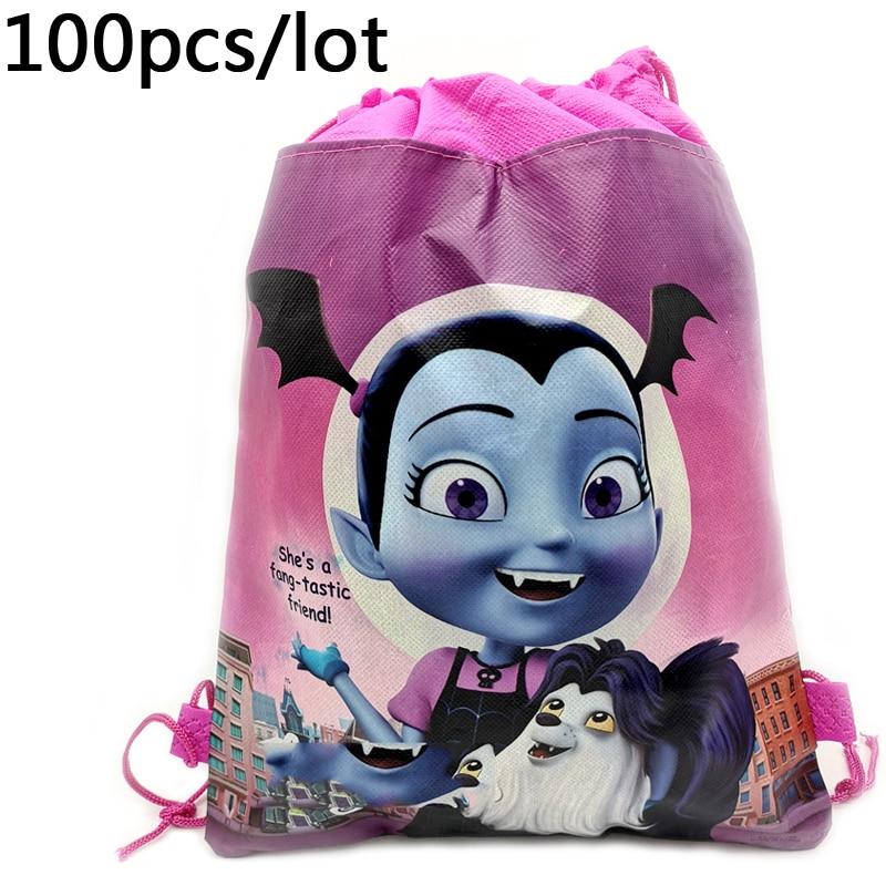 100pcs lot Baby Shower Girls Kids Favors Backpack Drawstring Gifts Bags Vampirina Cartoon Theme Birthday Events