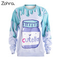 Zohra Hot Sales Hoodies Sweatershirt Cutella Purple Printing Fashion Casual Women Pullover Fitness Sweatershirts