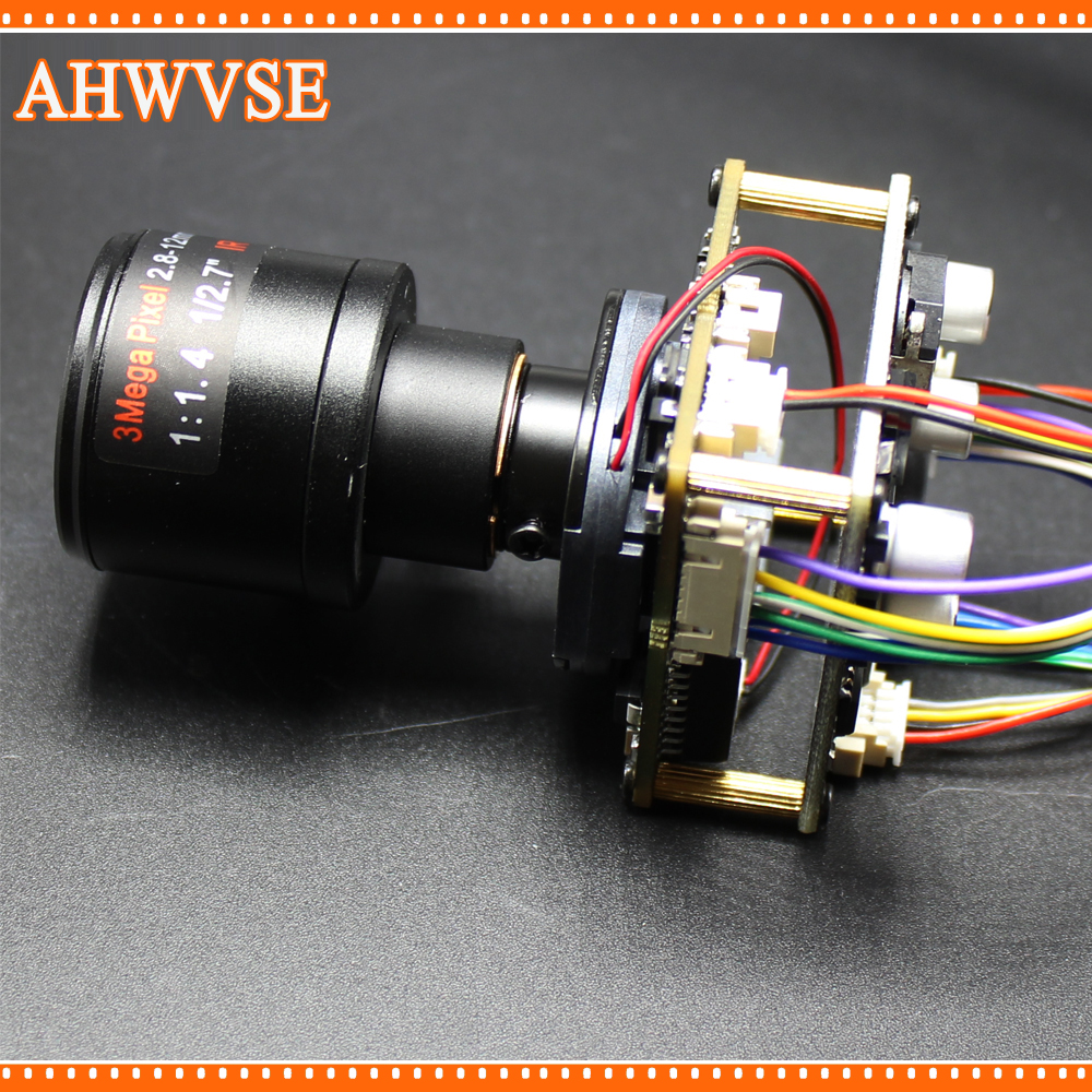 AHWVSE POE IP Camera module Board PCB with 2.8-12mm Lens 1080P IRCUT LAN Cable ONVIF Mobile XMEYE DIY CCTV IP Camera
