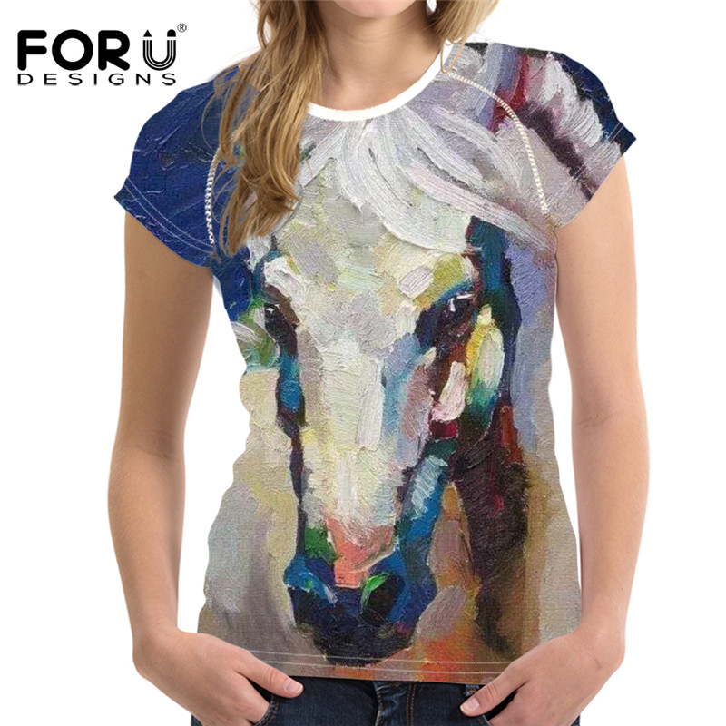 FORUDESIGNS Art Painting Horse Print Summer O-neck T Shirt Brand Clothes Short Sleeve Tee Shirt Casual Womens Fitness Tshirts