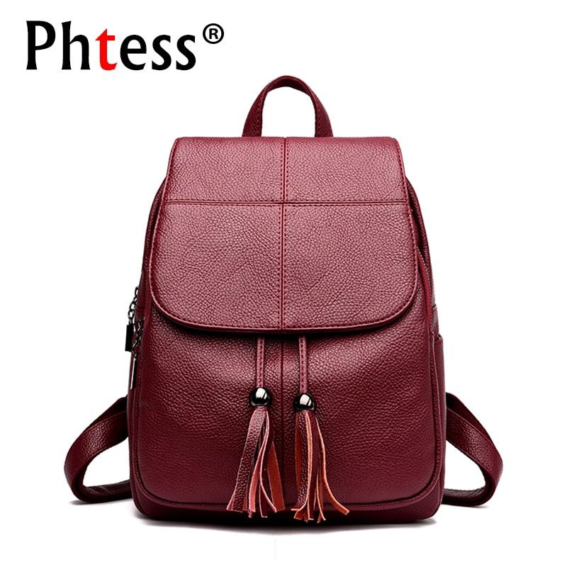 2019 Women Leather Backpacks Female Shoulder Back Pack Ladies Large Capacity Travel Bagpack Vintage Shcool Backpack For Girls