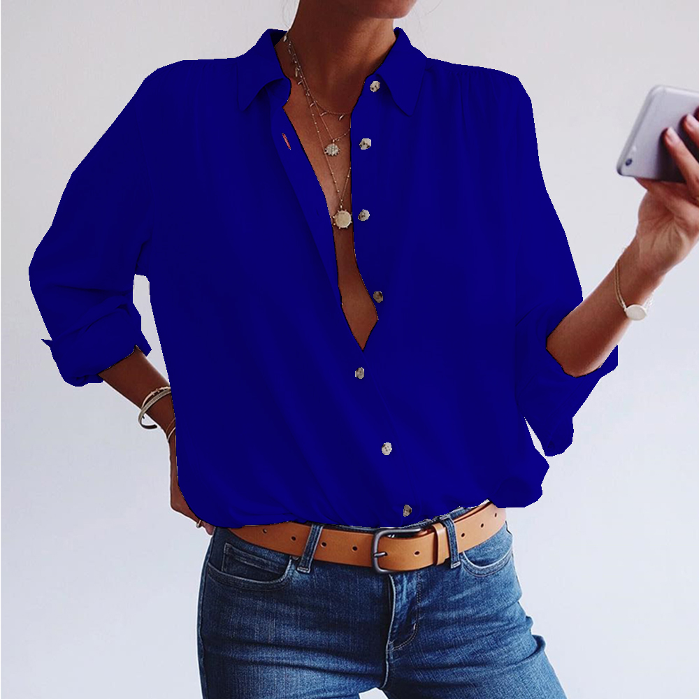 Blouse Women Shirt Casual Button Long Sleeve blusas Spring Female Tops Shirt blusas mujer de moda 2019 Plus Size Shirts D30 in Blouses amp Shirts from Women 39 s Clothing