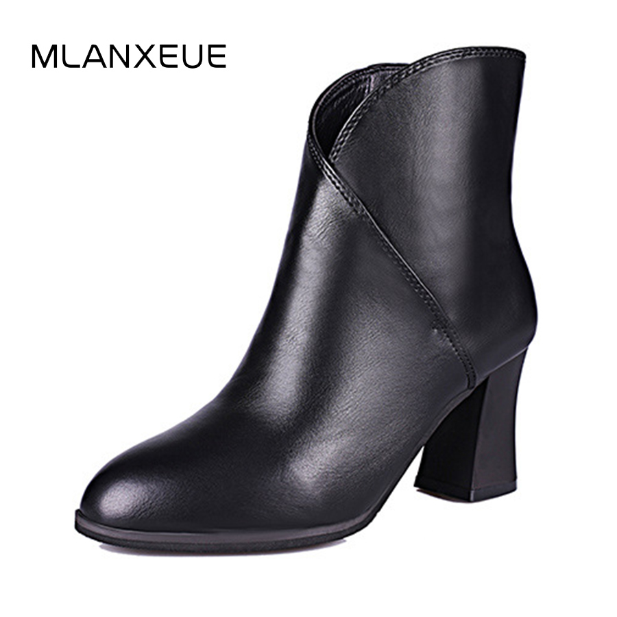 Thick Heel Leather Women Martin Boots Pointed Hign Heel Shoe British style Lady Short Boots Shoes Woman Slip On Ankle Boots 2018