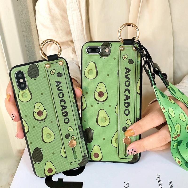 SoCouple Phone Holder Case For iphone XR X Xs max 11 Pro Max 7 8 6 6s plus Fruit Avocado Soft TPU Neck Wrist Strap Lanyard Case