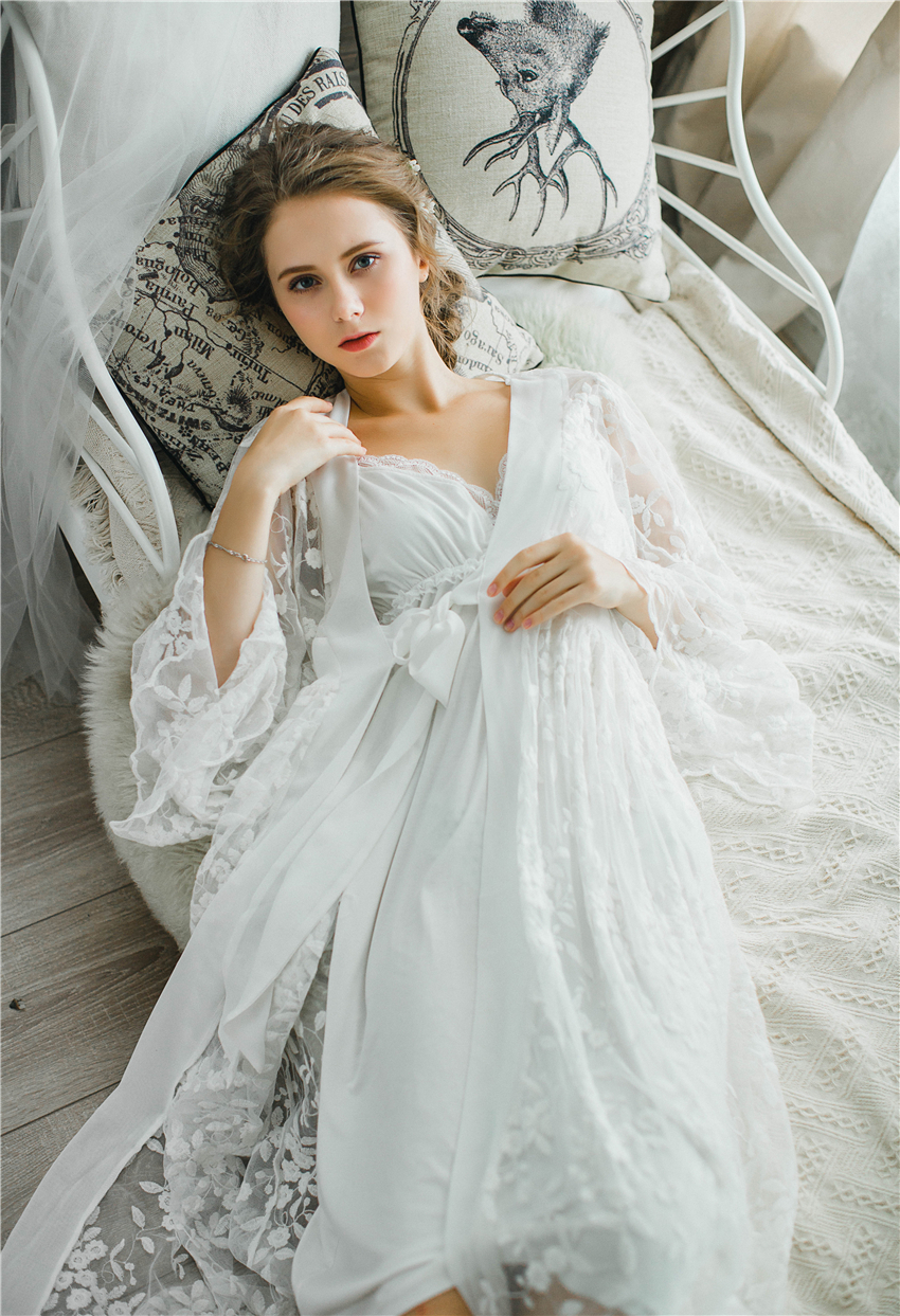 46457a4d0 Mulheres Robe de Renda Sleepwear Camisola Robe Robe de Renda ...