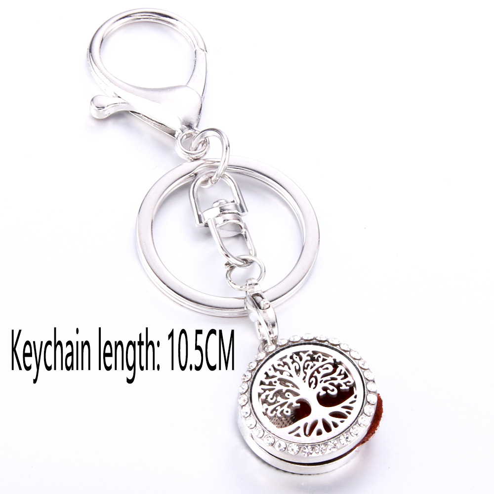 Christmas Tree Stainless Steel Perfume full Rhinestone KeyChain Essential Oil Diffuser Perfume Aromatherapy Locket Key Chain in Key Chains from Jewelry Accessories