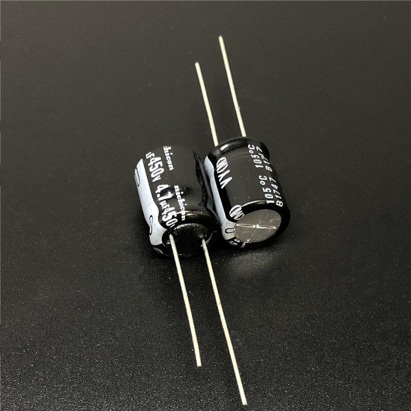 10Pcs/100Pcs 4.7uF 450V NICHICON VY Series 10x12.5mm Wide Temperature Range 450V4.7uF Aluminum Electrolytic Capacitor